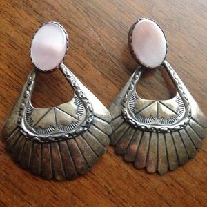 Vintage Navajo Pink MOP Sterling Silver Earrings